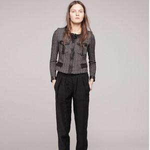 Isabel Marant Leather Trim Tweed Crop Blazer 42 L